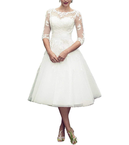 Beach Wedding Dresses for Bride 2019 Long Sleeves Lace Short Tea Length Wedding Dress Gown Plus Size