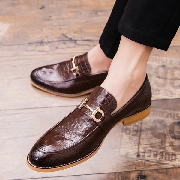 El yapımı Erkekler Oxfords Deri Ayakkabı Sivri Burun Gelinlik Loafer'lar Ayakkabı Iş Erkek Resmi Vestito Elegante Uomo