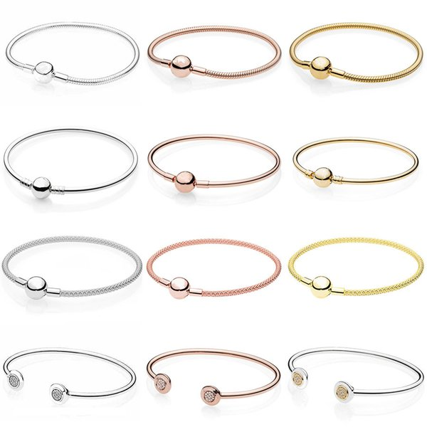 Moments Smooth Ball Clasp Mesh Letter Signature Clip Suitable Bracelet Fit Europe Snake Bangle 925 Sterling Silver Bead Charm