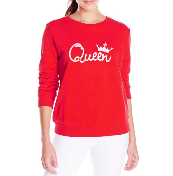 Tops Outono Mulheres Winter Queen Mulheres Crown Impresso camisola Hoodies manga comprida Rracksuit