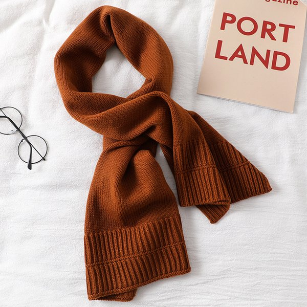Écharpe de couleur solide tricoté écharpes femmes hommes mode armure anneaux collier hiver chaud épais 120 * 35 cm