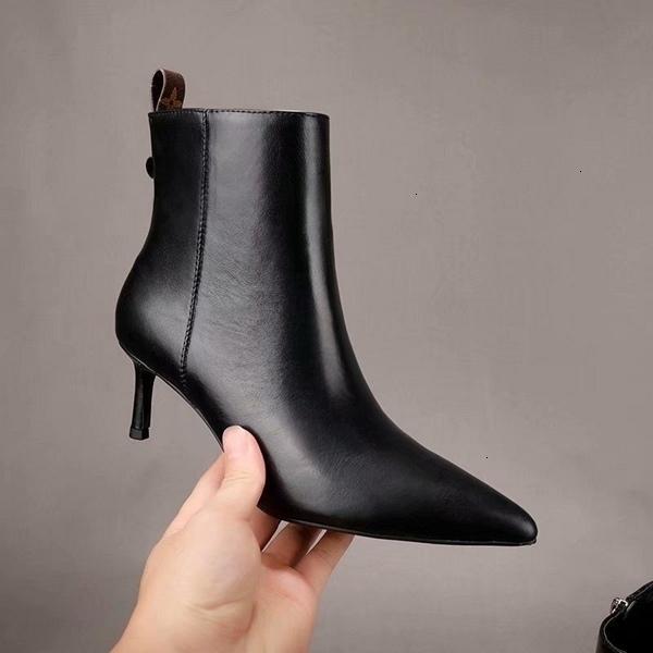 Hot femmes Bottes en cuir automne et l'hiver cheville chaussures à talon pointu bottes courtes 110203
