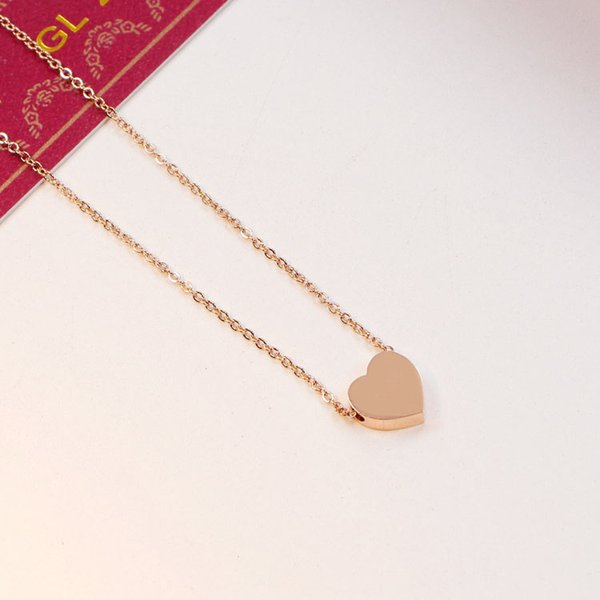 18K Rose Gold plated Love heat Pendant Chain Necklace Women Stainless steel Wedding Necklace with Original box Set