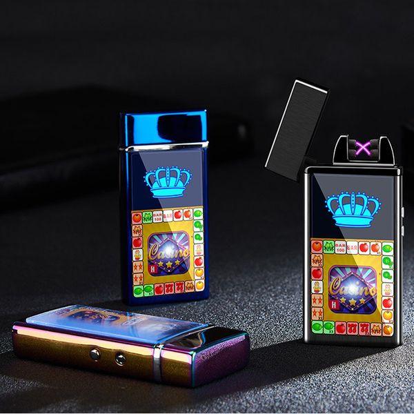 Оптовая Электронная зажигалка ветрозащитный двойной огонь крест двойной дуги импульсный электрическая дуга красочные USB заряд зажигалки DBC DH0637-1