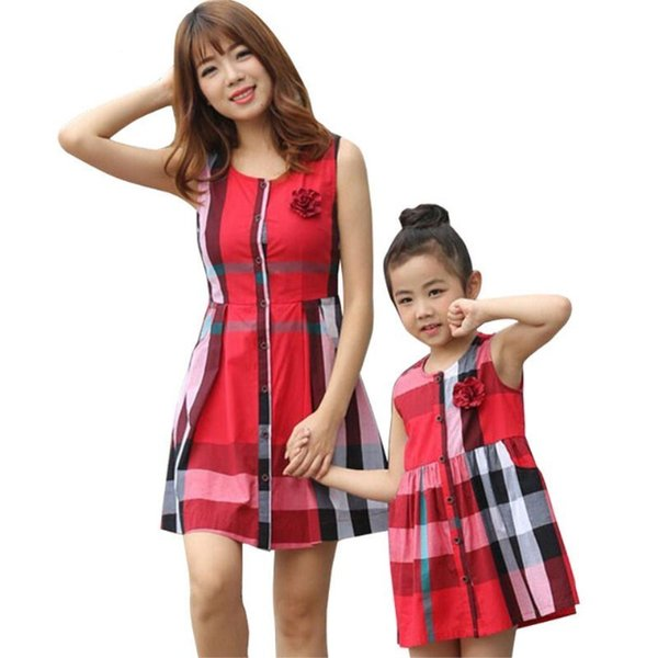 Summer Mom And Me Vestido Fashion Plaid Dress Family Look Mother And Daughter Clothes Dresses Sylvanian Family Matching Outfits J190508