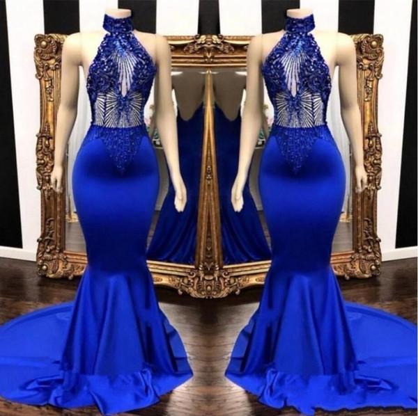Sexy Azul Royal Sereia Vestidos de Baile 2019 Beading Lantejoulas Gola Alta Formal Evening Vestido Backless Longo Árabe Plus Size Vestidos AL2174