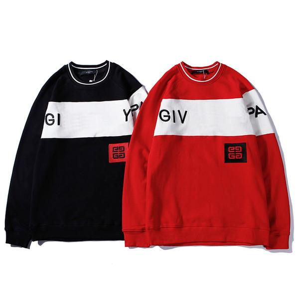 Hochwertige Markendesigner Sweatshirt Männer Stickerei Brief Paris Pullover Schwarz Rot Casual Jumper Pull M-2XL Mit Originalverpackung
