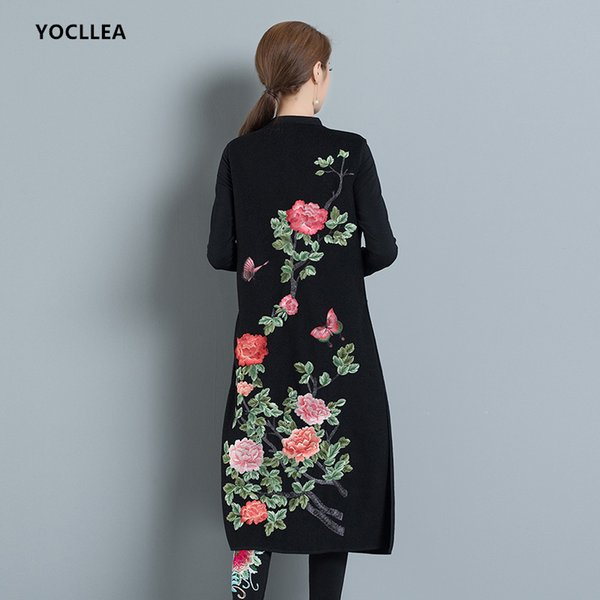 New Autumn Winter Vest for Women sleeveless Long Solid Embroidery V Neck Wool Vest Outerwear Coats single Button Tops
