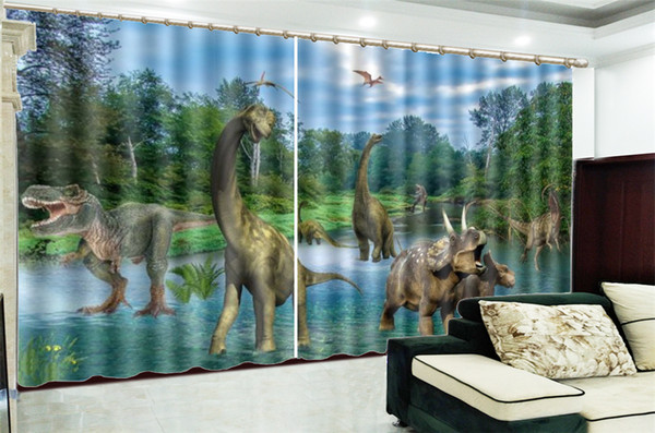 2019 Curtain Bedroom Price Fierce Dinosaur In The Virgin Forest Custom  Living Room Bedroom Beautifully Decorated Curtains From Yunlin188, $194.98  | ...