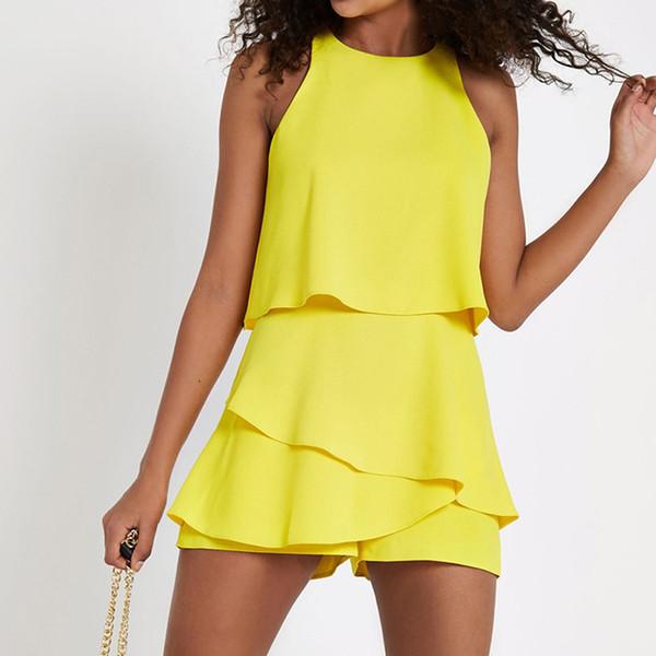 Fashion Women Chiffon Jumpsuits Women Casual Beach Vest Bodysuits Female Solid Color Ruffles Playsuit Short Overalls Playsuit