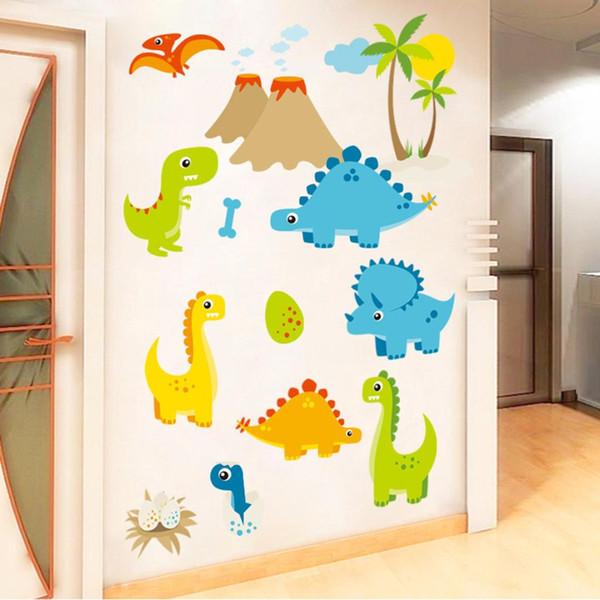Cartoon Dinosaur PVC Wall Stickers Mural Living Room TV Background DIY Art Decal Kids Playroom Home Decoration Wallpaper 60x50cm
