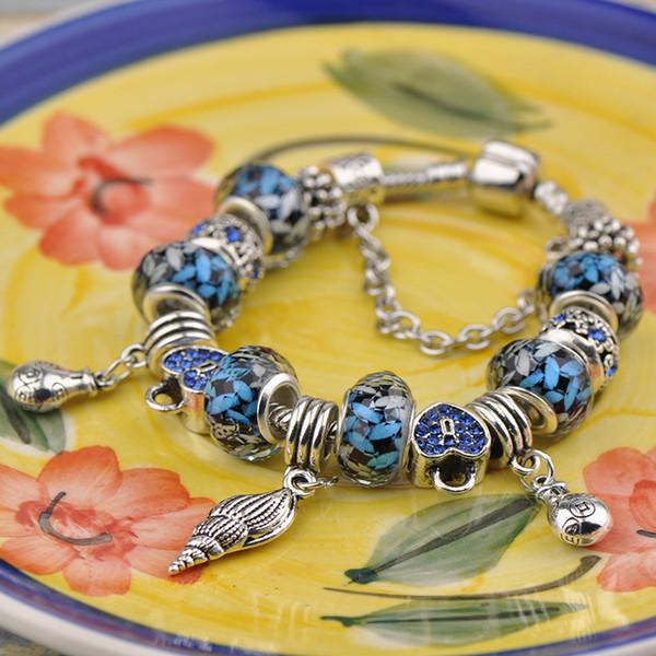2019 Handmade Charm Bracelets Fit Pandora Blue Murano Glass Beads Crystal Brand Silver Alloy Pendant Women Designer Snake Chain Jewelry Best