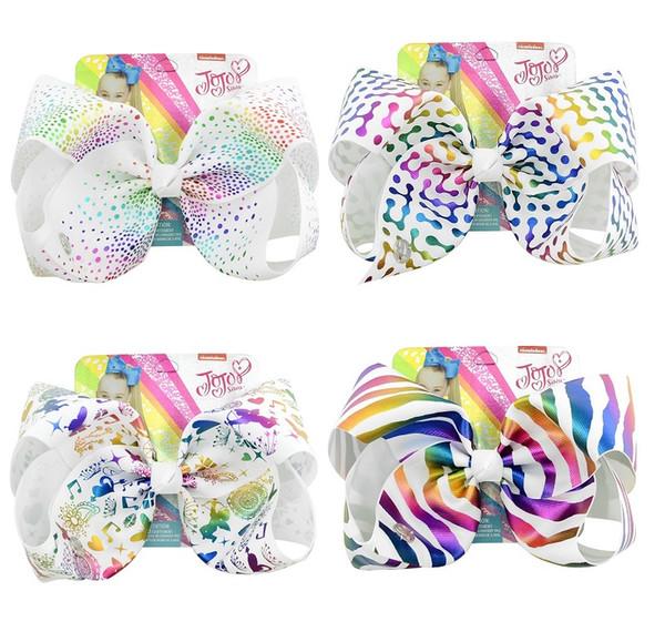12Pcs 8 Inch Colorful Stripe Point Print Grosgrain Ribbon Bows Clips Jojo Kids Hairpin Hair Clips Barrettes Beautiful HuiLin C229