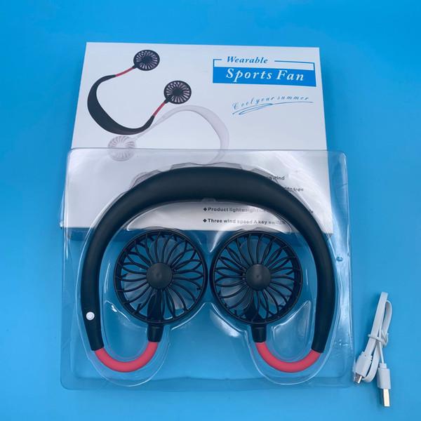 2000 mAh Ventilador portátil USB Manos libres Colgar el cuello Carga USB Mini Ventilador deportivo portátil 3 engranajes Usb Aire acondicionado ventilador de enfriamiento del automóvil DHL