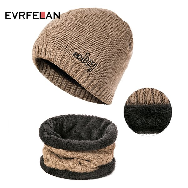 evrfelan new design thick winter hat scarf men women knitting warm beanie hat ring scarves solid color gorros bonnet, Blue;gray