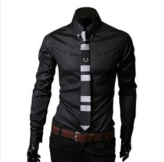 Fashion-Hot sale men Slim business blouse cotton mens designer clothes turn-down collar tommis shirts fashion Obscure argyle dress shirt