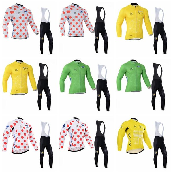 TOUR DE FRANCE team Cycling long Sleeves jersey (bib) pants sets Gel Padded Racing Sport Quick Dry Lycra MTB Bike Clothing K010904
