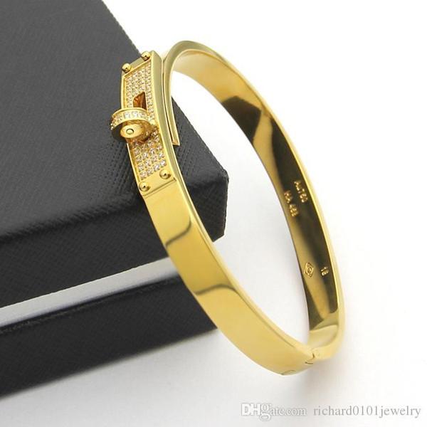 Pay4U Diamond Cz Anelli in pietra Fibbia rotante H Bracciale rigido per donna Gioielli di moda di lusso in oro rosa in acciaio inossidabile sano di alta qualità
