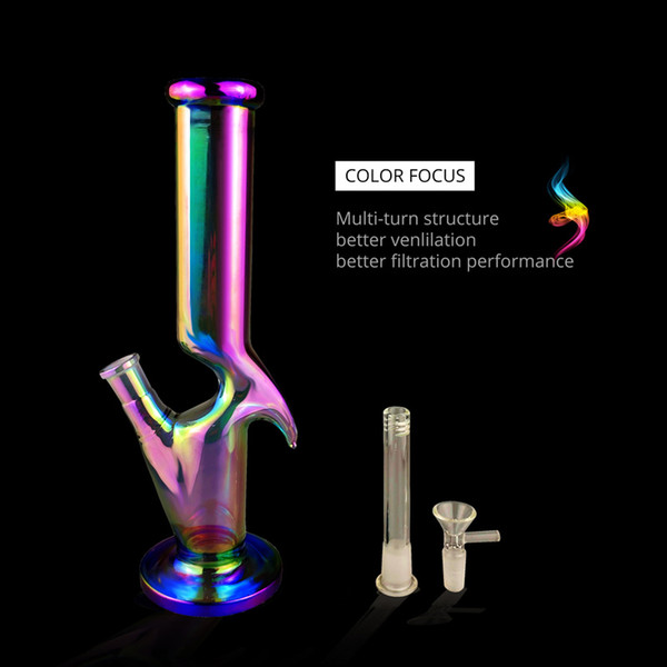 Popular 12.5 Inch Rainbow Alien Style Glass Bongs Water Pipes with 1 Piece Downstem and 1 Piece Glass Bowl