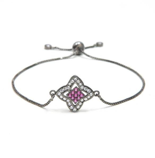 4 mm or argent bracelet chaîne rose micro pave bracelet macramé ajusté corde zircon cz Charm Bangles wr2342 pour femme cadeau bijoux