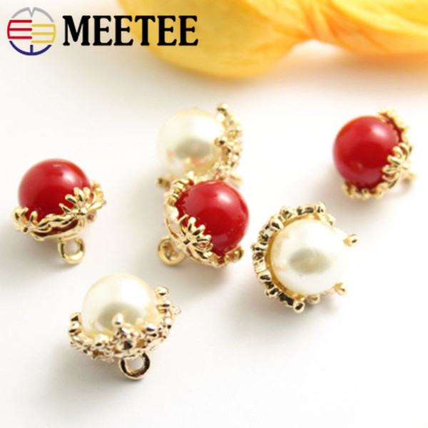 Meetee BD326 13mm Pearl Metal Shank Buttons DIY Shirt Sweater Coat Craft Sewing Accessories Decorative Buckle