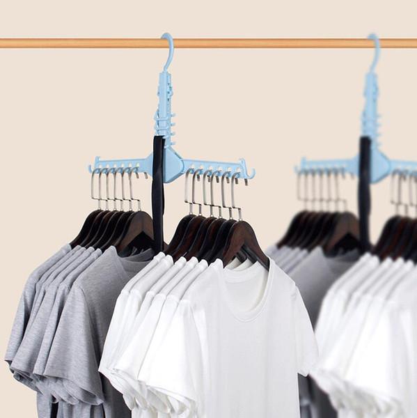 Organización de almacenamiento en el hogar Ropa Percha mágica Rack de secado Bufanda de plástico Perchas de ropa Racks de almacenamiento Armario Percha de almacenamiento