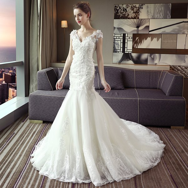 Wedding dress new Korean V collar one word shoulder to show thin waistband, buttocks, fishtail wedding small tail