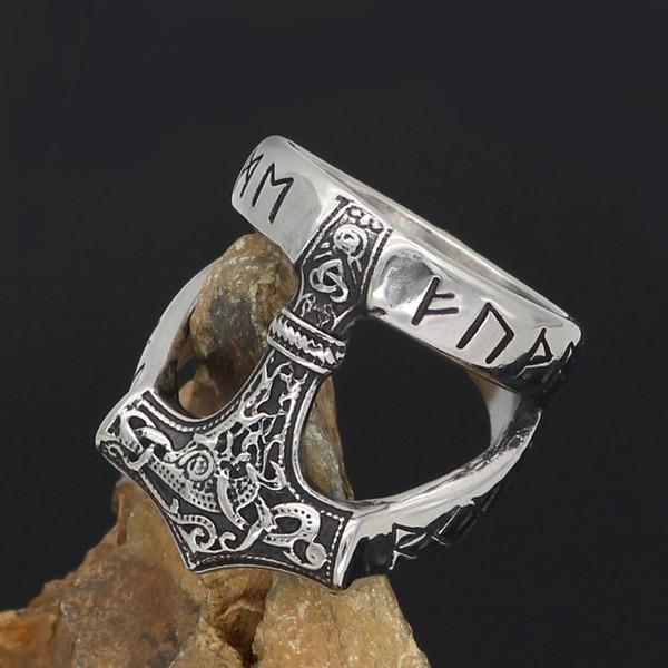 nordic Viking 316L stainless steel thor hammer Mjolnir Scandinavian rune ring