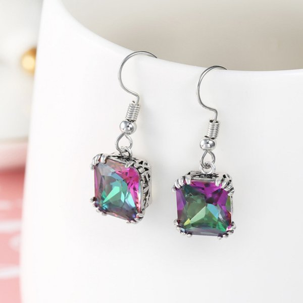NEW Luckyshine 5 pieces/lot silver plated A variety of colors Sparkling Square Mystic topaz crystal earrings for lady party gift E0002
