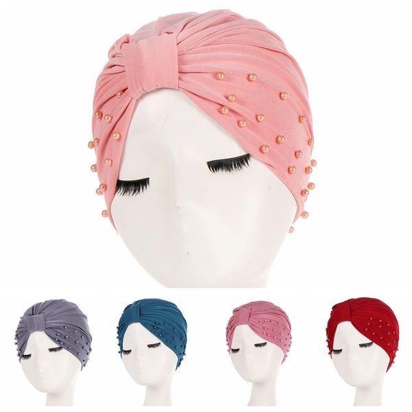 1PC Fashion Women Cotton Beading India Ruffle Turban Muslim Hat Cancer Chemo Hijib Cap Scarf Headwrap Beanie Hijabs