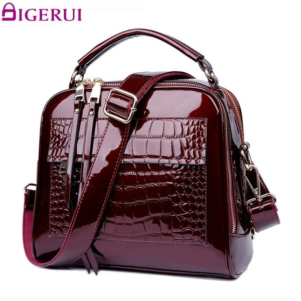 DIGERUI New Women Bag Patent Leather Handbags Crocodile Vintage Women Totes Bag Female Luxurious Shoulder Bags Totes DH0160