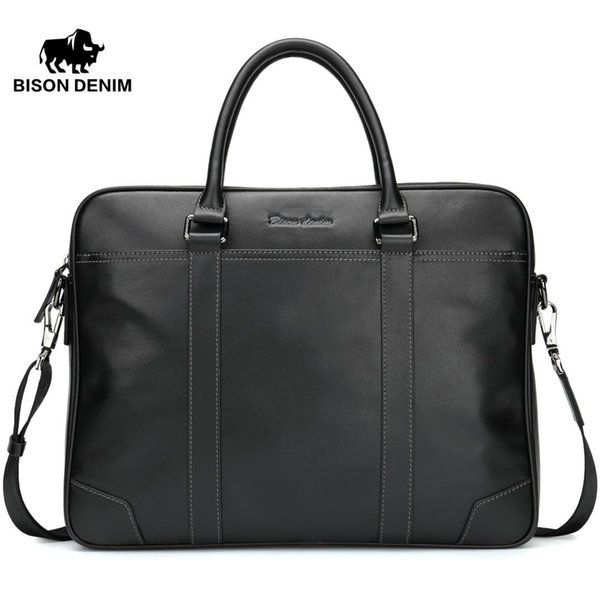 BISON DENIM Fashion Cowhide Male Handbag Famous Brand 14 inches Laptop Business Bag Men Messenger Bag Travel Crossbody N2610