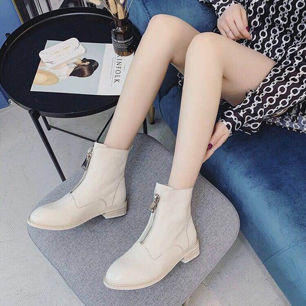 Autumn and winter Hot style Martin boots platform luxury woman shoes Short boots Ladies shoes Waterproof zipper Fashion Size 35-40