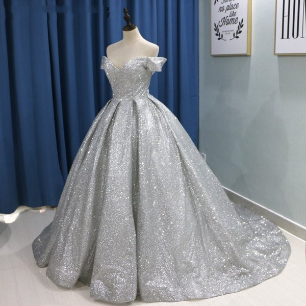 Sparkly Glitter Ball Gown Prom Dresses 2019 Luxury V Neck Long Train Party Gowns Corset Back Off The Shoulder Vestidos de festa Abendkleid