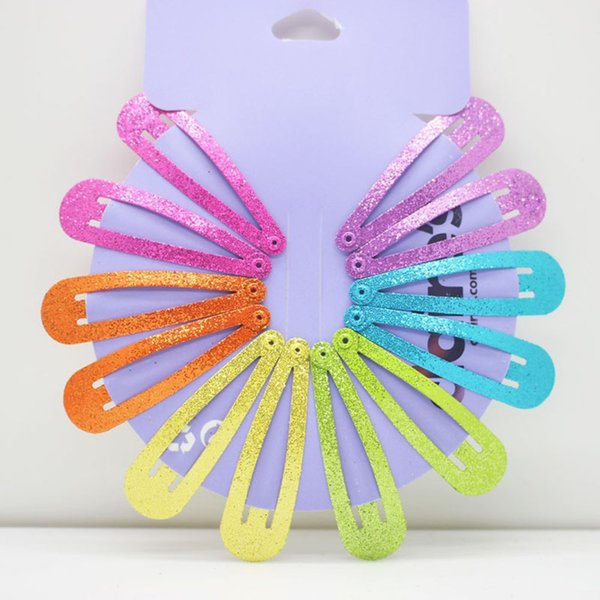 12Pcs/Set Glitter Candy Color Children Snap Hair Clip Barrettes Girls Cute Hairpins Colorful Hairgrips for Kids Hair Accessories