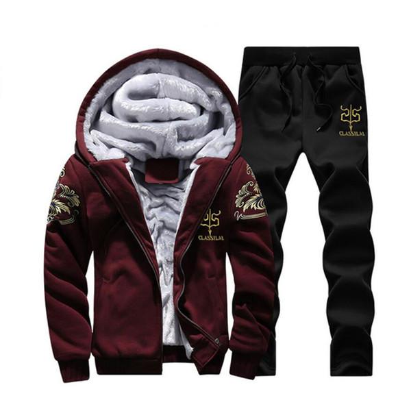 Mens stellt Kleidung in den Mens-Sätzen ein Verdicken Sie Polyster-warme Kleidungs-Winter-Kapuzenpullis und Hosen 2Pcs Freies Verschiffenschwarzes