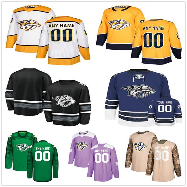 Custom Nashville Predators #14 Mattias Ekholm 89 Frederick Gaudreau 64 Mikael Granlund 9 Filip Forsberg Men Women Kids Youth Hockey Jerseys