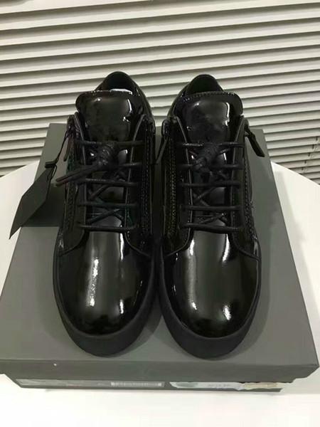 Vendite calde Moda Scarpe di marca Uomo Donna Casual Low Top Nero Scarpe sportive in pelle Doppia cerniera piatta Uomo Sneakers Ferro Fogli Scarpe 35-46 A7