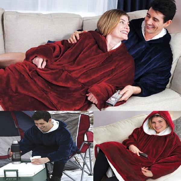 Famille TV Couverture extérieure d'hiver à capuchon manteaux chauds Slant Sweats à capuche Robe Peignoir Sweat Toison pull pour hommes femmes
