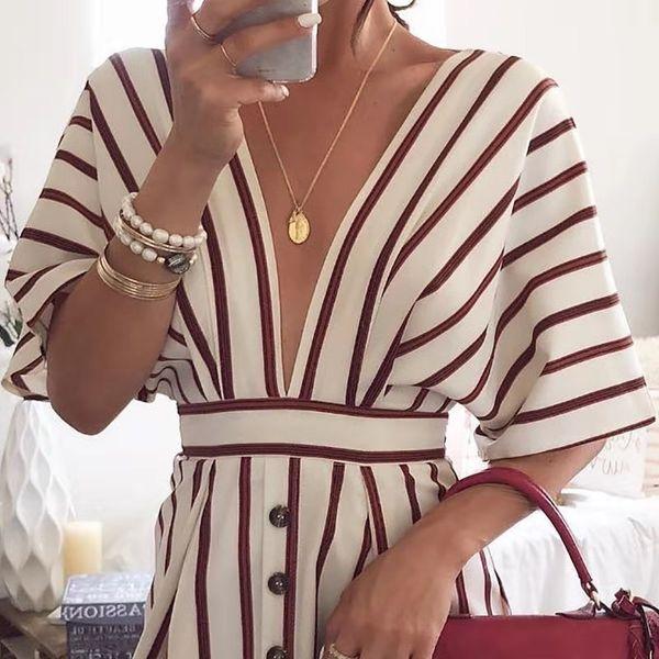 Платья Мода Новые европейские и американские весна, лето и осень обнаженной женской одежды в полоску глубокое V-рубашка платье А-линии юбка S ~ XXL