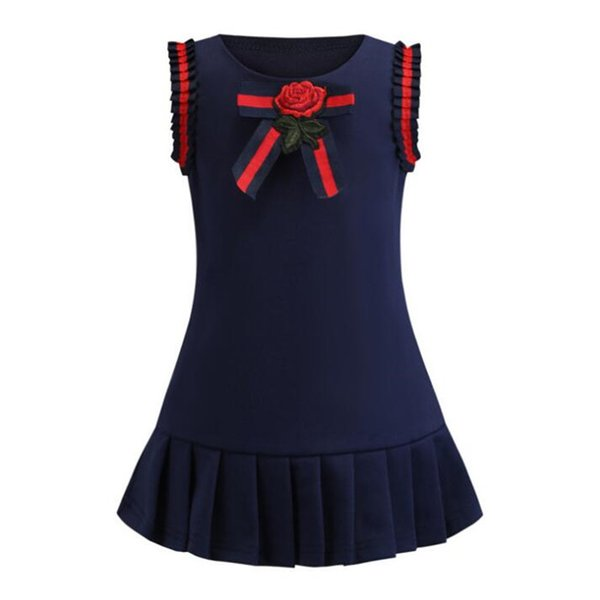 Retail Baby Girl Dresses 2019 New Navy Blue Sleeveless College Bow Flower Cotton Pleated Skirt Princess Dress Kids Clothes