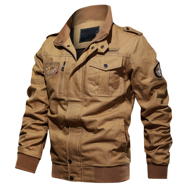 2019 New Men's Jacket Spring Autumn Casual Stand Collar Cotton Coat Streetwear Army Flight Cargo Bomber Jacket Men 6XL