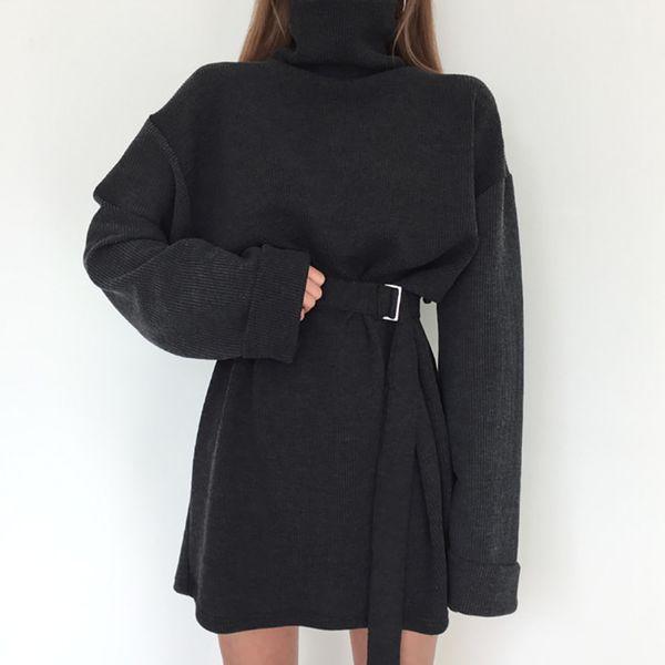 Real Shot 2018 Spring Women's Solid Turtleneck Long Sleeve Dress Female Bandage Plus Size Straight Cotton Dresses Y19041001