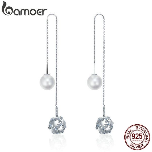 Bamoer 925 Sterling Silver Long Tassel Double Sides Ball Luminous Star Drop For Women Korean Earrings Jewelry Sce241 J190628
