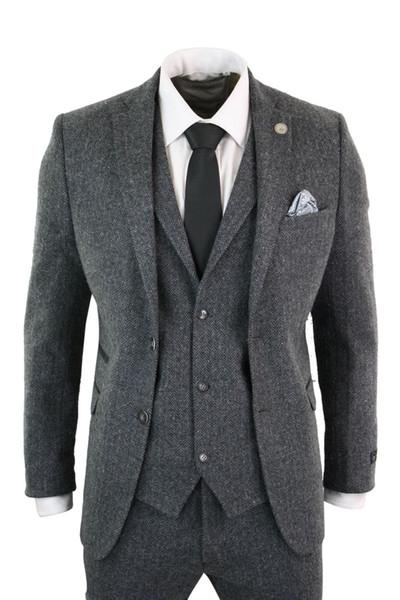 Mens Grey Black 3 Piece Tweed Suit Herringbone Wool Vintage Retro Peaky Blinders Custom Made Wedding Tuxedos