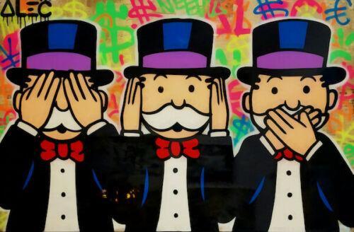 Alec Monopoly Ölgemälde auf Leinwand Graffiti-Kunst Drei Affen Tribut Wand-Deko Wohnkultur Handbemalte HD als PDF drucken Bild 190919