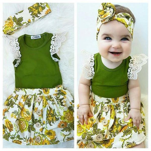 Niño de los niños del bebé ropa de niña de encaje verde Tops Romper + Tutu floral falda + diadema trajes verano ropa de bebé 3PCS B11
