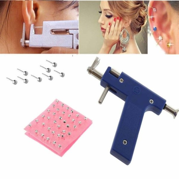 Professional Pro Steel Ear Nose Navel Body Piercing Gun Tool Blue Color Kit 84pcs Studs Set Jewelry Tools Equipment Free Shipping AB