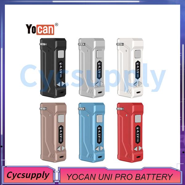 Original Yocan UNI PRO Box Mod 650mAh Pré-aqueça o VV Voltage Variable display OLED de bateria para 510 Thick Oil Cartuchos Atomizers Genuine