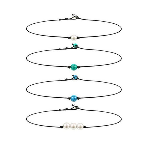 Single Pearl Choker Halskette 3 Perlen Halskette Single Edelstein / Türkis Choker und Blau Türkis Halskette auf Lederband für Frauen Mädchen